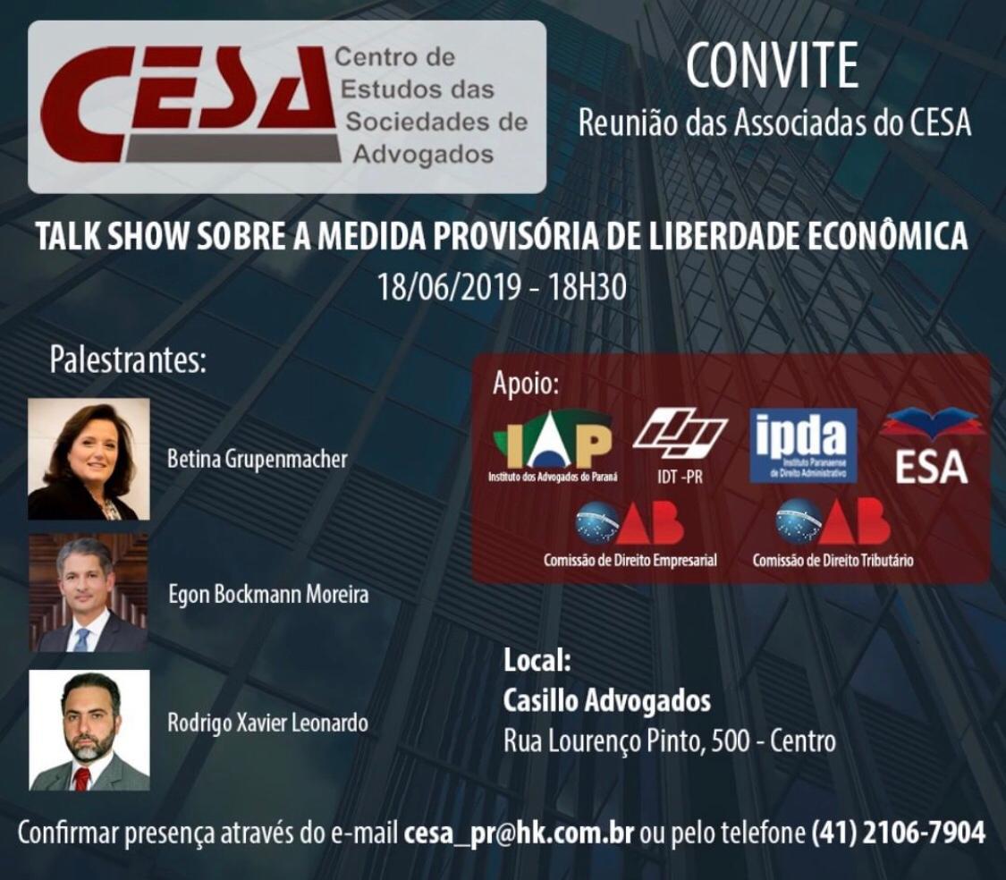 Talk show sobre Medida Provisória de Liberdade Econômica
